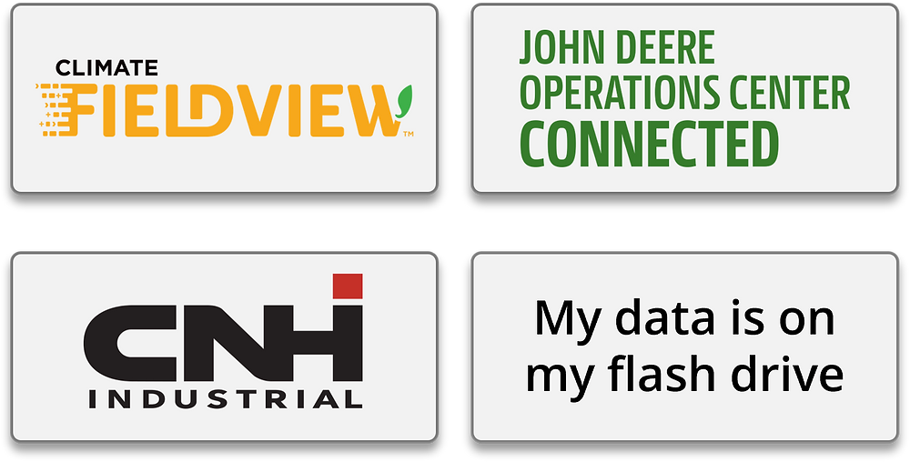 An image of four gray squares with logos inside them, representing buttons for each major precision agriculture cloud platform.
