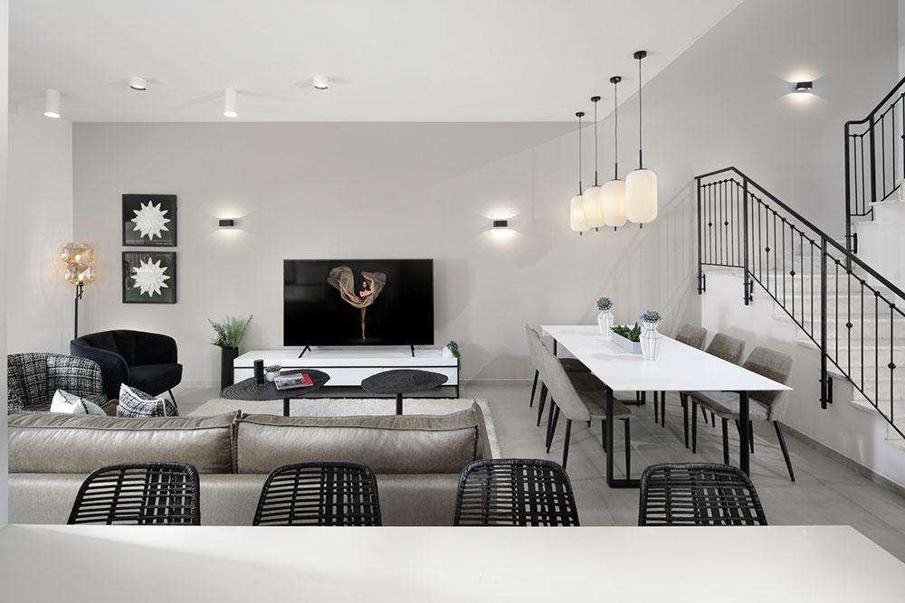 מבט על הסלון מהאי במטבח