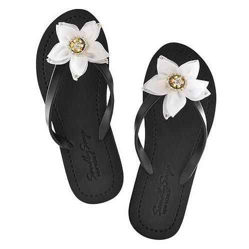 Chrystie White Flower - Women's Flat Sandal