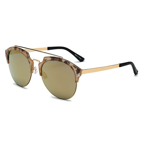 COROLLA | CA15 - Half Frame Mirrored Lens Horned Rim Sunglasses Circle