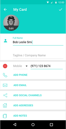 Alternative Contact Detail Screen
