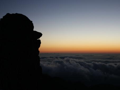 日没迫る天狗岩