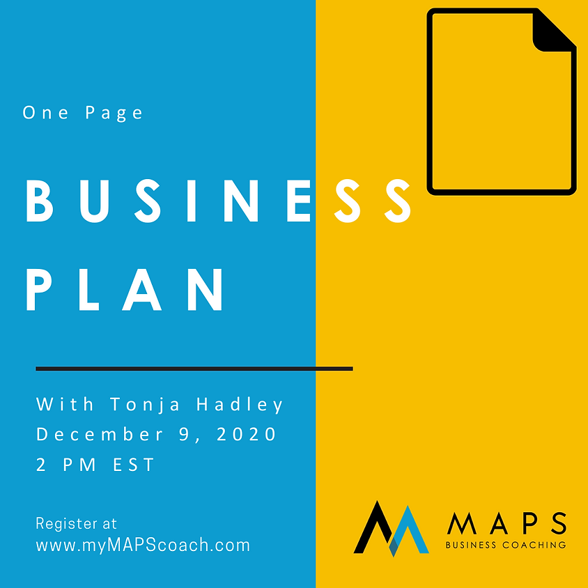 Creating Your One Page Business Plan with Tonja Hadley