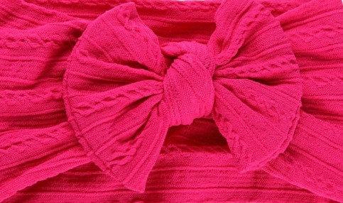 Fuchsia Cable Knit Bow Headband