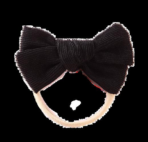 Black Corduroy Bow Headband