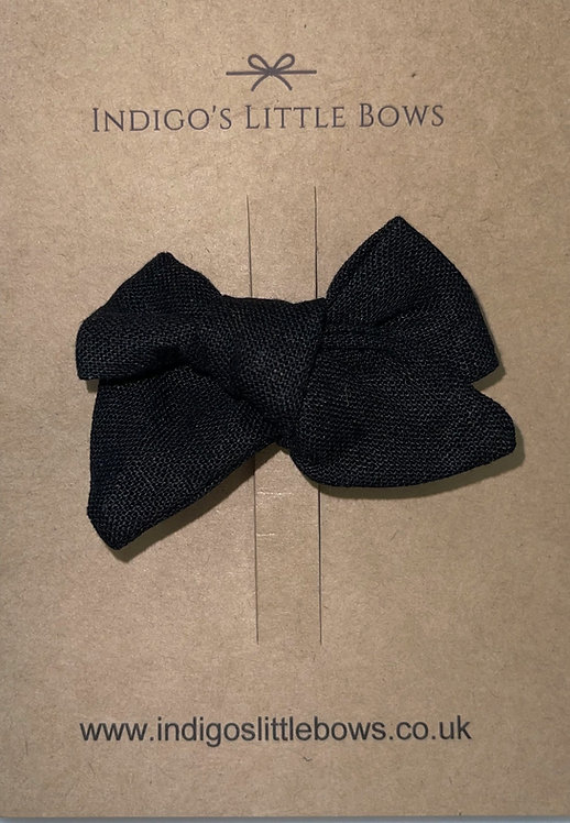 Black Linen Bow Clip