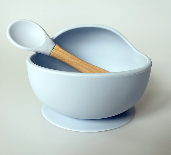 Silicone Bowl & Spoon Set | Dusty Blue