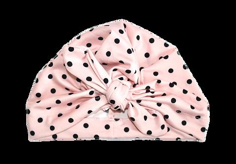 Black And Pink Polka Dot Bow Knot Turban