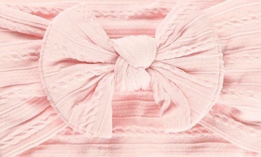 Pale Pink Cable Knit Bow Headband