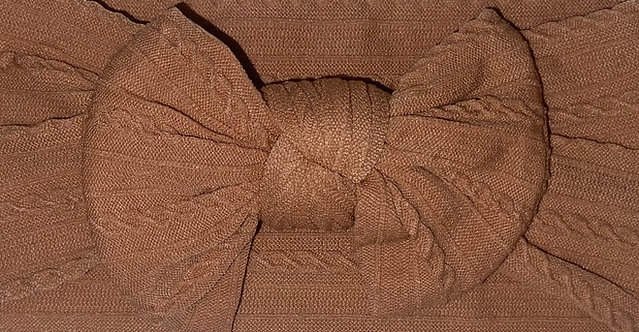 Tan Cable Knit Bow Headband
