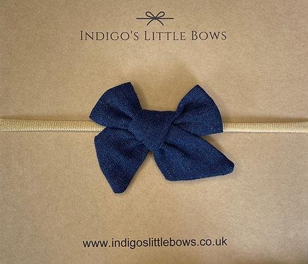 Navy Linen Dainty Bow Headband