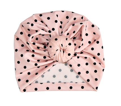 Black And Pink Polka Dot Donut Turban