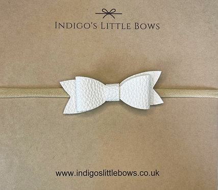 White Faux Leather Dainty Bow Headband