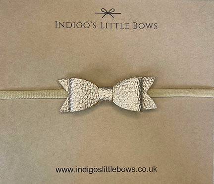 Gold Faux Leather Dainty Bow Headband