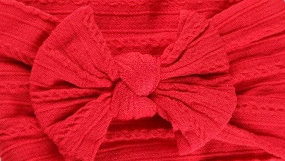 Red Cable Knit Bow Headband
