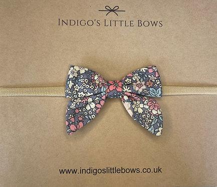 Blue Floral Dainty Bow Headband