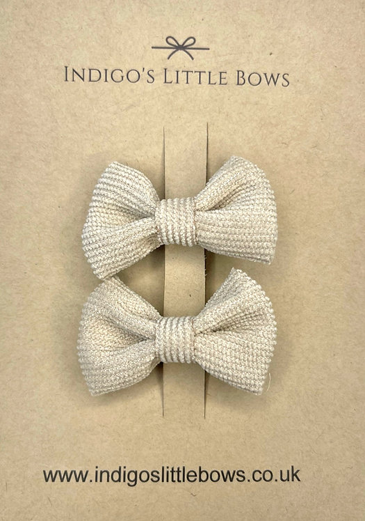 Beige Small Knit Pigtail Clips