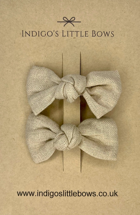 Sand Linen Pigtail Clips