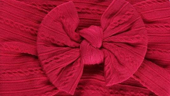 Cherry Cable Knit Bow Headband