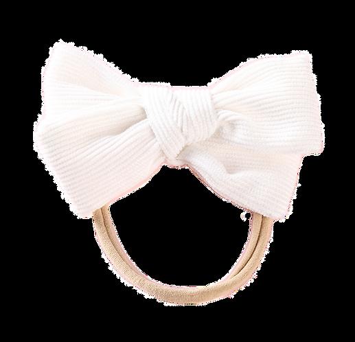 White Corduroy Bow Headband