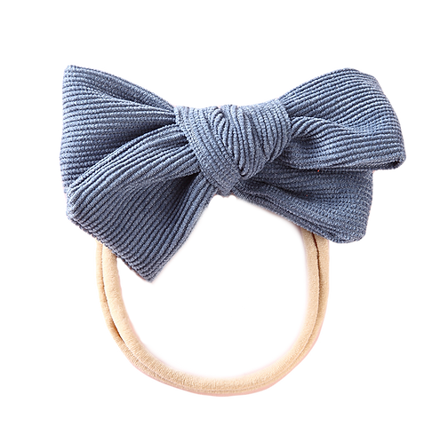 Steel Blue Corduroy Bow Headband