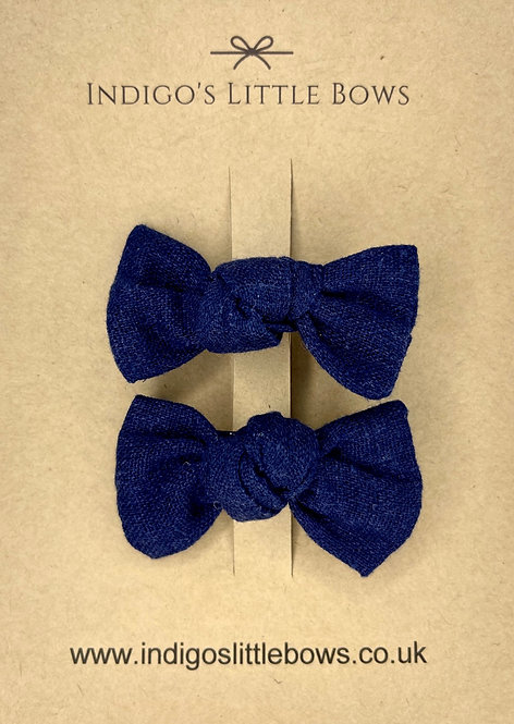 Navy Linen Pigtail Clips