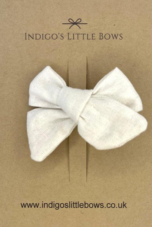 White Linen Bow Clip