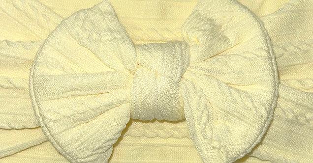 Lemon Cable Knit Bow Headband