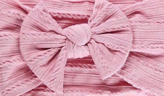 Blush Pink Cable Knit Bow Headband