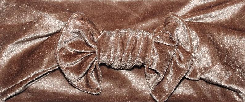 Golden Brown Velvet Bow Headband