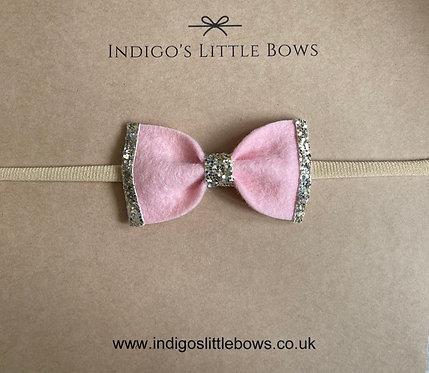 Pink With Glitter Dainty Bow Headband