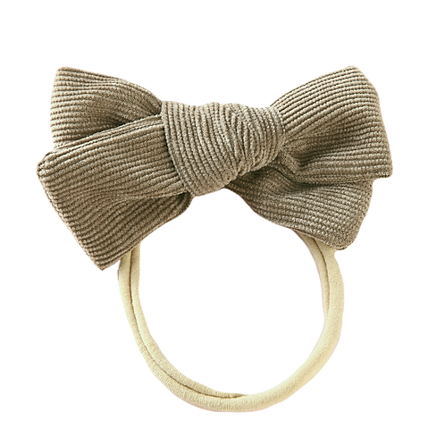 Khaki Corduroy Bow Headband