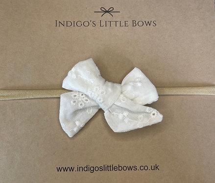 White Broderie Dainty Bow Headband