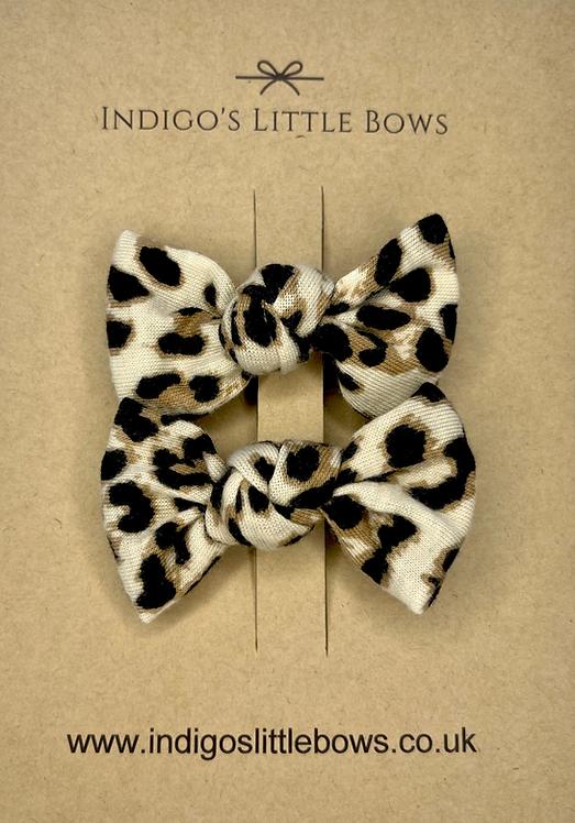 Leopard Print Pigtail Clips