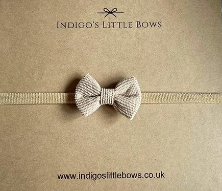 Beige Small Knit Dainty Bow Headband