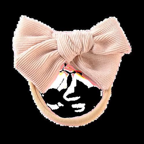 Beige Corduroy Bow Headband