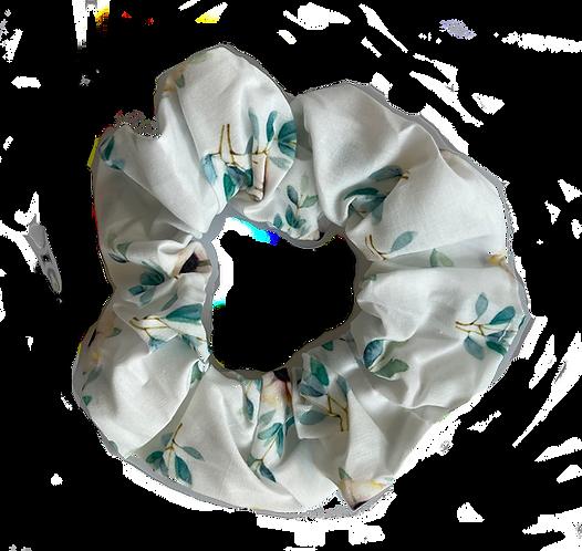 Elegant White Floral Scrunchie
