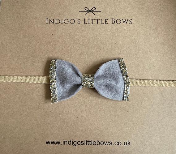 Grey With Glitter Dainty Bow Headband