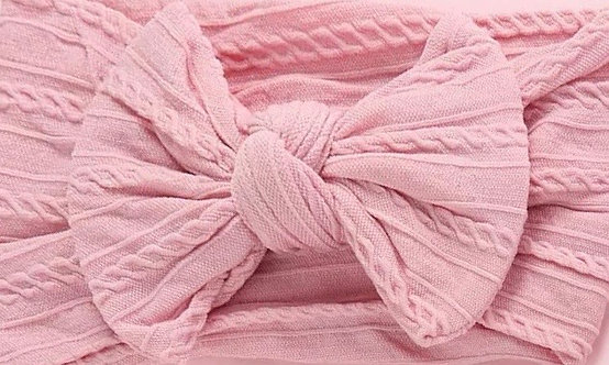 Dusty Pink Cable Knit Bow Headband