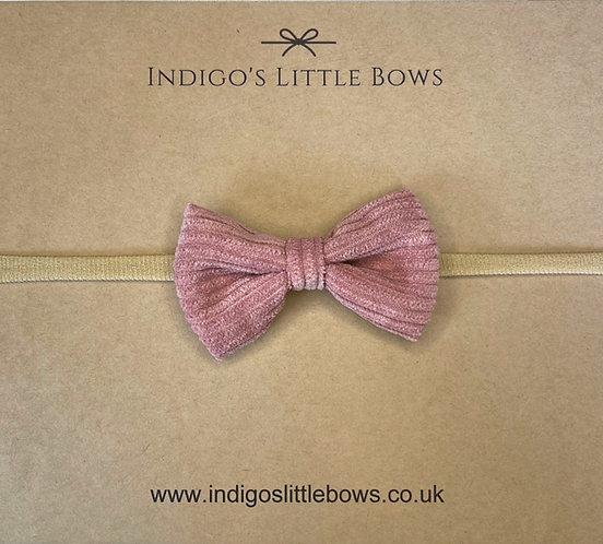 Grape Velvet Knit Dainty Bow Headband