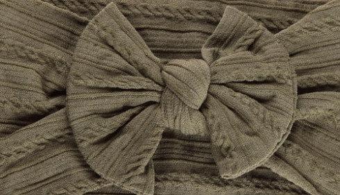 Khaki Cable Knit Bow Headband