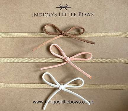 Set of 3 Suede Ribbon Dainty Bows