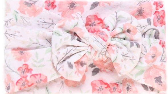 White Floral Bow Headband