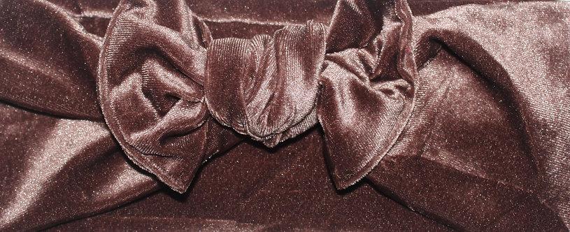 Chocolate Brown Velvet Bow Headband