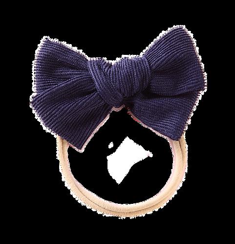 Navy Corduroy Bow Headband