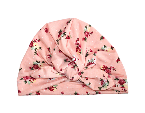 Pink Floral Bow Knot Turban