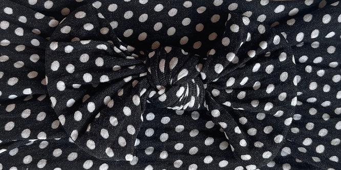 Black Polka Dot Bow Headband
