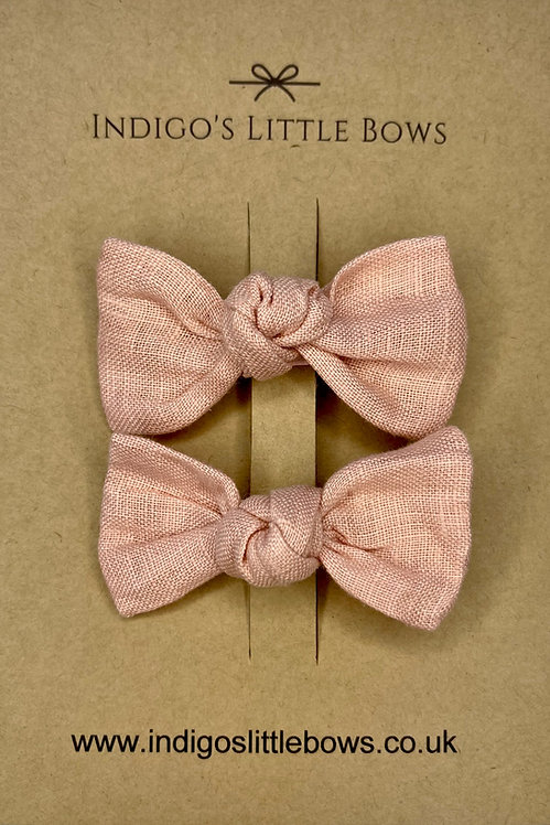 Dusty Pink Linen Pigtail Clips