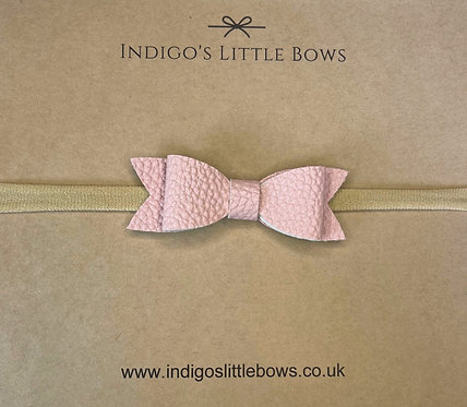Pink Faux Leather Dainty Bow Headband
