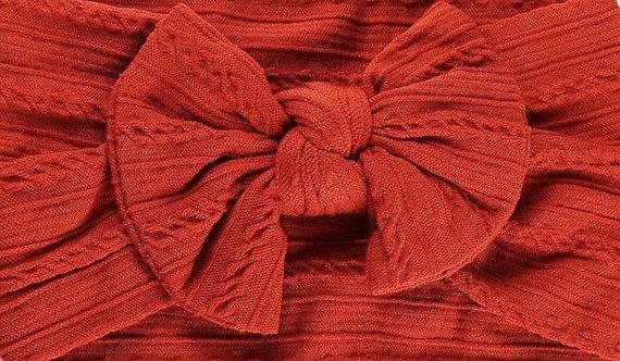 Burnt Orange Cable Knit Bow Headband